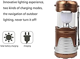 Solar Power Portable Two Ways Use Camping Lantern Light (Gold) (Gold)