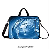 AngelDOU Waterproof Laptop Sleeve Bag Neoprene Carrying Case with Handle & Strap Connected World Concept Business Commerce Network Corporation Information Decora for Women &Men Work Home Office Blue