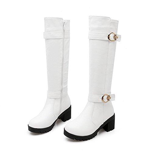VogueZone009 Damen Reißverschluss Hoch-Spitze Mittler Absatz Rein Stiefel mit Metallisch, Weiß, 40