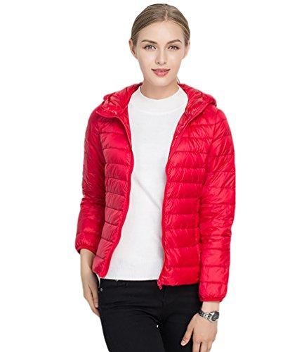 CHENGYANG Doudoune Ultra Lgre  Capuche Blouson Zippe Manteau Court Veste Chaude d'hiver pour Femme Rouge