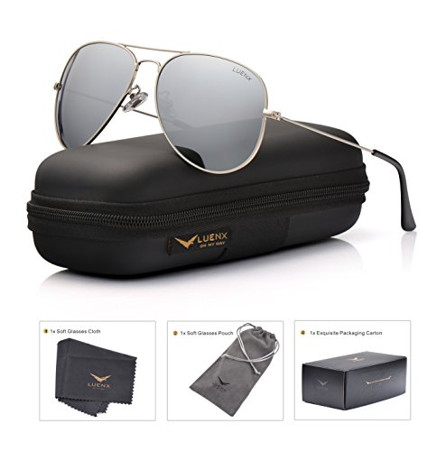 LUENX Mens Womens Aviator Sunglasses Polarized Silver Mirrored Lens Metal Frame with case UV 400 Protection Driving - Aviator Polarized Sunglasses