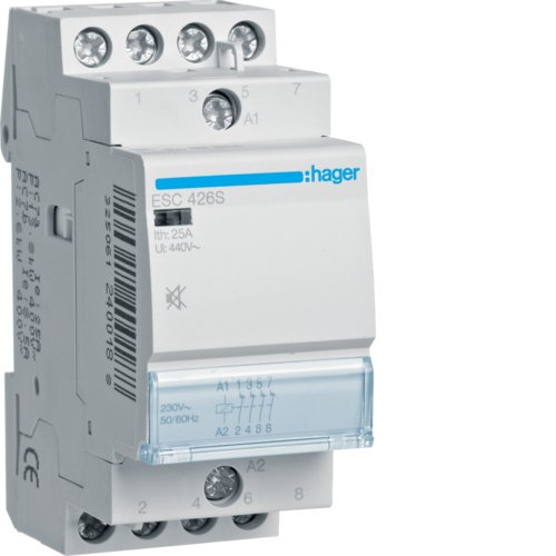 230/V Hager ESC426S Sch/ütz leise 25/A 4/NC