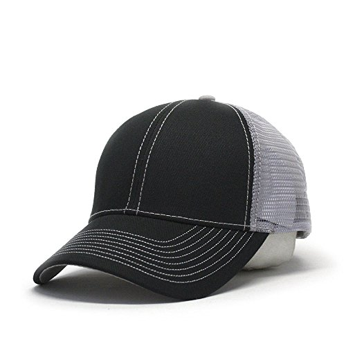 otton Twill Mesh Adjustable Trucker Baseball Cap (Black/Black/Gray) ()