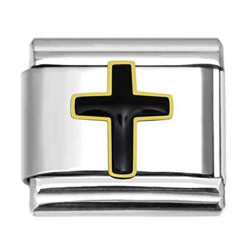 - SilverAndJewelry Black Cross Italian Charm Stainless Steel Bracelet Link