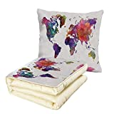 Quilt Dual-Use Pillow Watercolor Multicolored Hand Drawn World Map Asia Europe Africa America Geography Print Decorative Multifunctional Air-Conditioning Quilt Multicolor