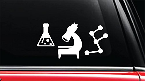 "Chemistry Apparatus Vinyl Die-Cut Decal Sticker for Car, Truck, Notebook, Laptop, Computer or Window (4"" tall, White)"