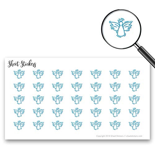 Angel Wings Scrapbooks - Angel Wings Halo Holy Seraph, Sticker Sheet 88 Bullet Stickers for Journal Planner Scrapbooks Bujo and Crafts, Item 1051363