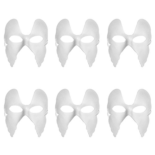 Diy Masquerade Costumes (Aspire Bulk Pack of 6 DIY Masks Craft Paper Halloween Masquerade Face Mask Decorating Party Costume - Butterfly1,1 pack)