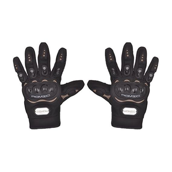 Romic Leather Motorcycle Full Gloves (Black, Large)