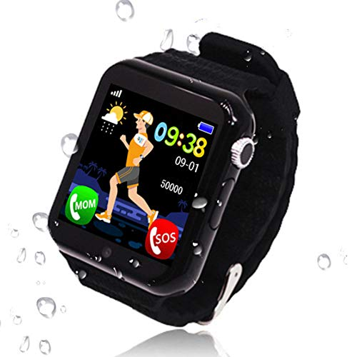 Kids Smart Watch Phone, GPS+ BDS+ LBS+ WiFi+ AGPS 5 Positioning System Smart Wrist Watch for 3-12 Year Old Boys Girls Two-Way Call SOS Help Children's Smart Watch, Black