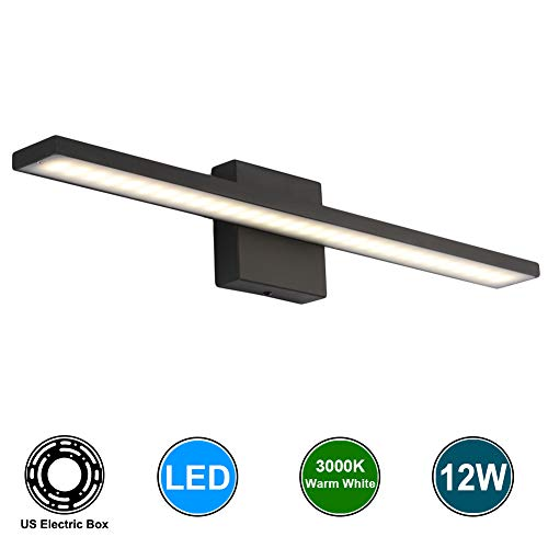 Aipsun 12W Modern Black Fashion Led Vanity Over Mirror Wall Light Make -