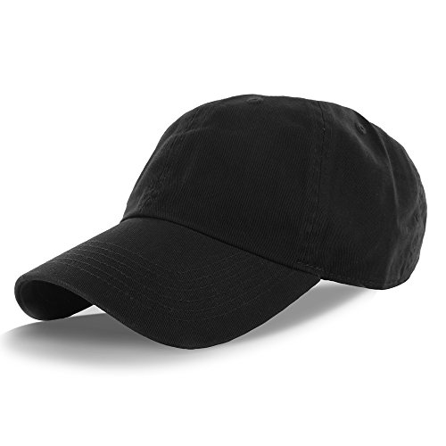Plain 100% Cotton Hat Men Women Adjustable Baseball Cap (30+ Colors) Black One Size ()