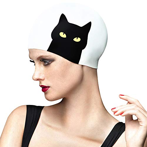 BALNEAIRE Silicone Swim Cap for Women, Waterproof Swimming Cap for Long Hair with Cat Printed (Best Waterproof Swim Cap For Long Hair)