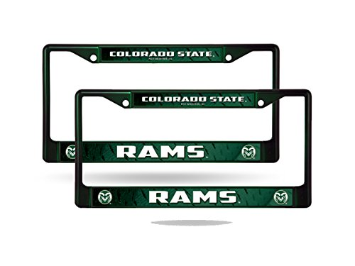Colorado State Rams NCAA Dark Green Painted Chrome Metal (2) License Plate Frame Set
