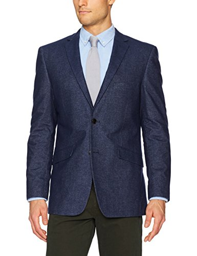 U.S. Polo Assn. Men's Stretch Cotton Sport Coat, Denim Oxford Blue, 40 (Denim Stretch Blazer)