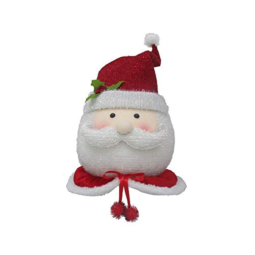(19 in. Santa Christmas Tree Topper Head Holiday Decor)