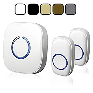 SadoTech Model CX Wireless Doorbell with 1 Receiver Plugin and 2 Remote Buttons Operating at over 500-feet Range with Over 50 Chimes, No Batteries Required for Receiver, (White)