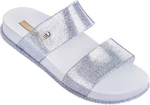 Cosmic Slide (Melissa Womens Cosmic Slide Sandal White Glitter Size 9)
