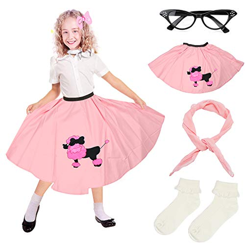 Beelittle 4 Pieces 50s Girls Costume Accessories Set - Vintage Poodle Skirt, Chiffon Scarf, Cat Eye Glasses, Bobby Socks (D-Pink) -