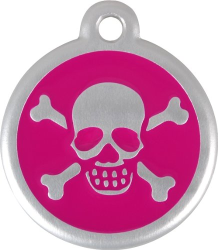 Red Dingo QR Collar Tag, Skull/Crossbones, Small, Hot Pink