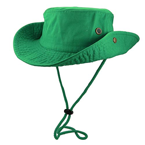 Gelante 100% Cotton Stone-Washed Safari Booney Sun Hats (Large/X-Large, Kelly Green) Cotton Twill Long Visor