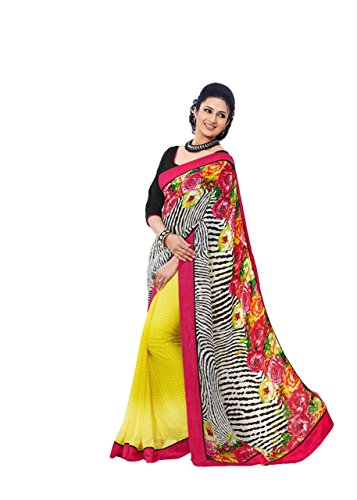 Charming Floral and Animal Print Designer Printed Sari Chiffon (Charming Saree)
