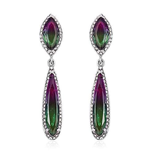 Dangle Drop Earrings Stainless Steel Drop Bi-Color Tourmaline Gift Jewelry for Women Ct - Tourmaline Color Gem Bi