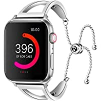 UNIDEEPLY Bling Bands Compatible Apple Watch Band Iwatch Series 4/3/2/1, Women Stainless Steel Metal Dress Jewelry Bracelet Bangle Wristband (Silver, 42MM/44MM)