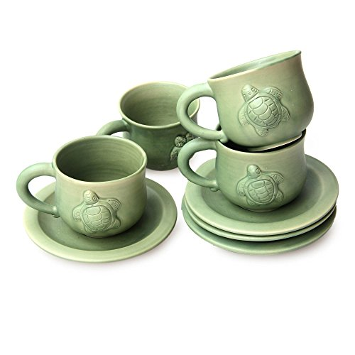 NOVICA Decorative Ceramic Cups & Saucers, Green, 6 oz, 'Turtle Action' (Set of 4) by NOVICA