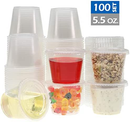 Freshware Plastic Portion Cups with Lids [5.5 Ounce, 100 Sets] Souffle Cups, Jello Shot Cups, Condiment Sauce Containers For Sampling, Sauce, Snack or Dressing