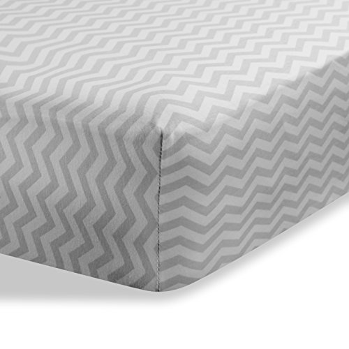 Cradle Sheets Fitted 18'' X 36'' – Cradle Sheets for Boys and Girls - Abstract cradle sheets for Baby - Infant Deep Fitted Soft Jersey 100% Cotton Knit Cradle Sheets (Zigzag Grey) by Abstract