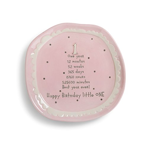 - Baby's First Happy Birthday Little One Pink 7 x 7 Stoneware Cake Plate