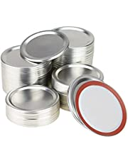 100-Count Regular Mouth Canning Lids, AuFreedo Mason Jar Lids for Canning, Leak Proof Split-Type Lids with Silicone Seals Rings(70mm/2.7inch)