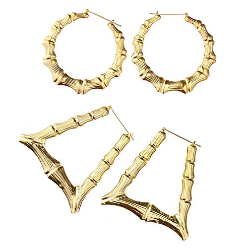 Zealmer 2 Pairs Punk Bamboo Big Circle & Triangle Hoop Earrings for Women Gold Tone