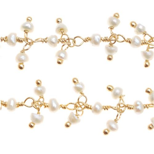 Beadaholique Tiny Hanging White Seed Pearl Gold Vermeil Wire Wrapped Chain 3.5mm (Vermeil Button)