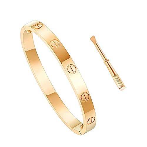 Z.RACLE Love Bangle Bracelet Stainless Steel with Screw Gold 6.3In