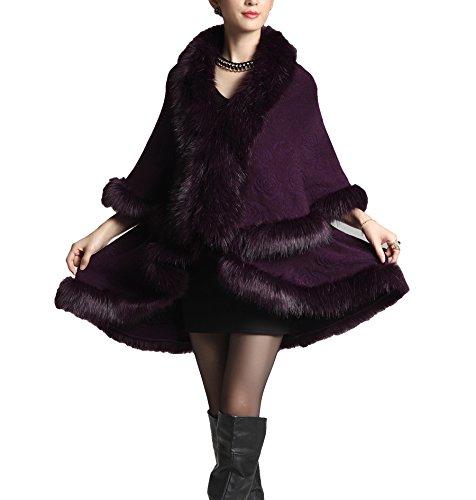 Purple Plaer Fourrure Mode Fox Laine Manteau European En Cape Faux Style Femmes Deep Mélangée 45wSwrxqfO