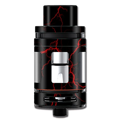 Skin Decal Vinyl Wrap for Smok Mini TFV8 Big Baby Beast Tank Vape Mod stickers skins cover / Red Lightning Bolts Electric