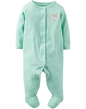 Baby Girls' Micro Fleece Footie (Baby) - Mint Dots