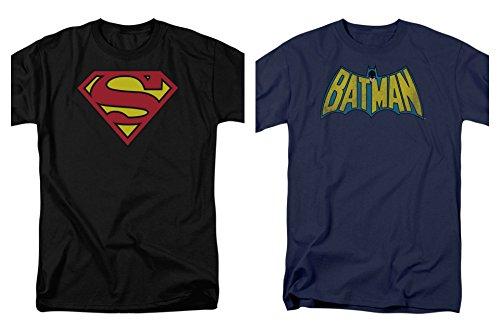 2 Pack Combo Superman & Batman Logo DC Comics Black and Blue Men's T-Shirts (X-Large) (Logo Batman Superman)
