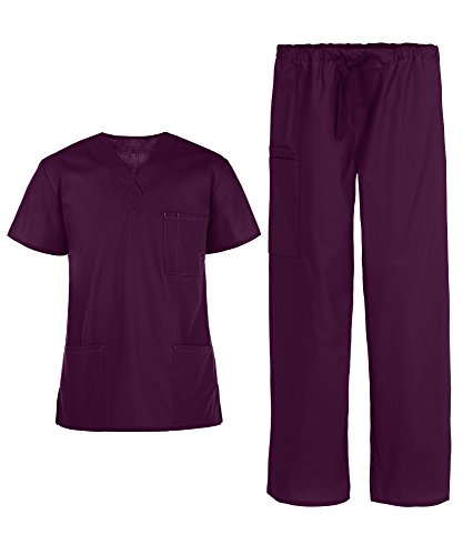 Men's Medical Uniform Scrub Set – Includes 3 Pocket V-Neck Top and Drawstring Pant (XS-3X, 14 Colors) (XX-Large, Wine)