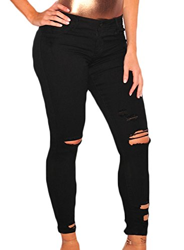 Sidefeel Women Casual Denim Destroyed Stretchy Ripped Skinny Jeans Large - Distressed Black