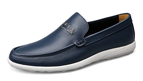 TDA Mens Slip-On Casual Comfort Leather Driving Penny Loafers Dress Business Shoes Blue s46R4u