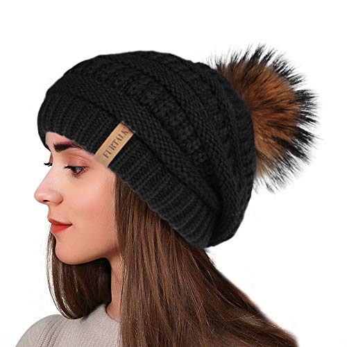 Winter Real Fur Pom Beanie Hat Warm Oversized Chunky Cable Knit Slouch Beanie Hats for Women (Women Hat Fur For Winter Casual)