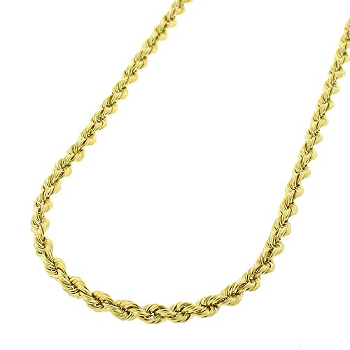 14k Yellow Gold 2.5mm Solid Rope Braided Link Twisted Chain Necklace 16