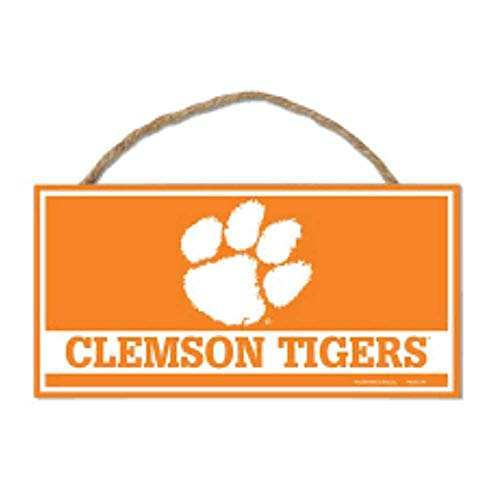 Tigers Sign - Bek Brands College and University Mascot Wood Sign with Rope Handle, 5 x 10 in (Clemson Tigers)