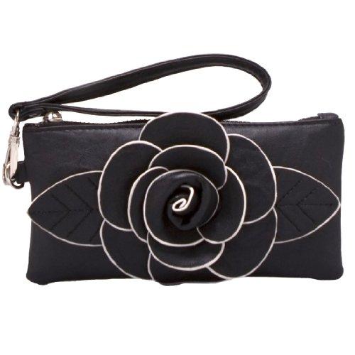 Mellow World Women's Audrey Hb2710 Vegan Leather Flower Coin Pouch Wristlet Wallet Travel Purse
