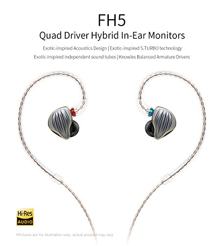 - FiiO FH5 Best Over the Ear Headphones/Earphones Detachable Cable Design HIFI Quad Driver Hybrid (1 Dynamic + 3 Knowles BA) In-Ear Monitors for iOS and Android Computer PC Tablet