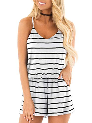 - Sexy Rompers for Women Elastic Waist Sleeveless Tshirt Jumpsuit with Pocktes Stripe