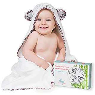 Precious Tots Premium Large Organic Bamboo Hooded Bath Towel and Washcloth Set, Super-Soft and Ultra-Absorbent Baby Towels for Newborns,Infants,Toddlers,Kids| 35 inches x 35 inches